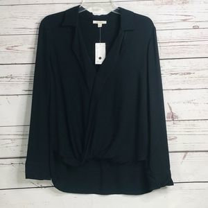 Ella Moss Black Long Sleeve Wrap Hi Low Hem Blouse